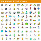 100 knowledge icons set, cartoon style. 100 knowledge icons set in cartoon style for any design vector illustration Royalty Free Stock Images