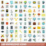 100 knowledge icons set, flat style. 100 knowledge icons set in flat style for any design vector illustration Royalty Free Stock Photography