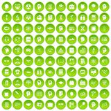 100 knowledge icons set green. 100 knowledge icons set in green circle isolated on white vectr illustration stock illustration