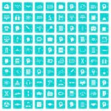 100 knowledge icons set grunge blue. 100 knowledge icons set in grunge style blue color isolated on white background vector illustration Royalty Free Stock Photos