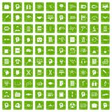 100 knowledge icons set grunge green. 100 knowledge icons set in grunge style green color isolated on white background vector illustration Stock Photos