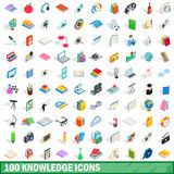 100 knowledge icons set, isometric 3d style Royalty Free Stock Photo