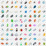 100 knowledge icons set, isometric 3d style. 100 knowledge icons set in isometric 3d style for any design vector illustration Royalty Free Stock Photos