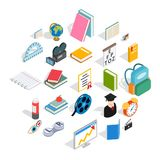 Knowledge icons set, isometric style. Knowledge icons set. Isometric set of 25 knowledge vector icons for web isolated on white background Stock Photo