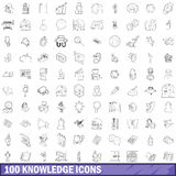 100 knowledge icons set, outline style Royalty Free Stock Images