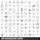 100 knowledge icons set, outline style. 100 knowledge icons set in outline style for any design vector illustration Royalty Free Stock Photo