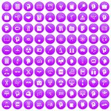 100 knowledge icons set purple Stock Images