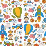 Seamless pattern Knowledge Imagination Fantasy Kids drawing style. Knowledge Imagination Fantasy Kids drawing style Creative education concept Kindergarten Royalty Free Stock Images