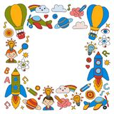 Knowledge Imagination Fantasy Kids drawing style  Royalty Free Stock Photography