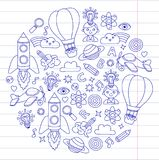 Knowledge Imagination Fantasy Kids drawing style Creative education concept   Stock Photos