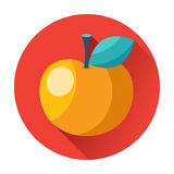 Knowledge juicy apple with leaf icon Stock Photo