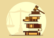 Knowledge of the law. Judge gavel on books. Knowledge of the law. Concept vector illustration with place for your text vector illustration