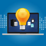 Knowledge management concept idea lamp inside computer storage  Stock Photography