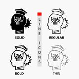 Knowledge, management, sharing, smart, technology Icon in Thin, Regular, Bold Line and Glyph Style. Vector illustration. Vector EPS10 Abstract Template royalty free illustration
