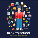 Knowledge objects: vector school education flat infographics Stock Photography