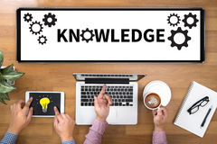 KNOWLEDGE Performance Skills Business working and Cog. Concept businessman working Royalty Free Stock Photography