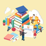 Knowledge is power concept. Flat 3d isometric design of knowledge is power concept vector illustration