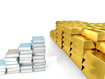 Knowledge power. 3d image of ingots and books Stock Photography