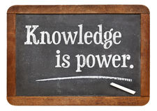 Knowledge is power. Motivational words on a vintage slate blackboard stock images