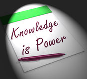 Knowledge Is Power Notebook Displays Successful Intellect And Me Royalty Free Stock Photos
