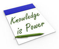 Knowledge Is Power Notebook Means Successful Stock Images