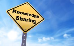 Knowledge sharing sign. On blue sky background,3d rendered stock illustration