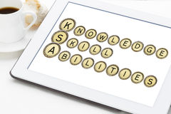 Knowledge, skills, and abilities. (KSA) is a concise essay about one's talent and expertise and related experiences. A word abstract in old typewriter keys on Royalty Free Stock Image