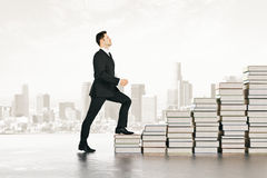 Knowledge staircase concept. Close up stock photo