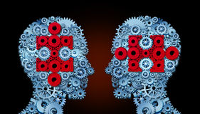 Knowledge Team. Concept as a group of people made of connected gears and cogs with jigsaw pieces inside their heads as a metaphor for making a connection to Royalty Free Stock Photography