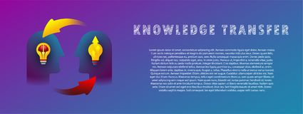 Knowledge transfer. Vector. Flat. Gradient. Banner. Knowledge transfer. Vector illustration. Flat. Gradient. Banner stock illustration