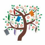 Knowledge Tree with leaves. Flowers and books Royalty Free Stock Photos