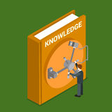 Knowledge valuable human book lock flat 3d isometric vector Stock Images