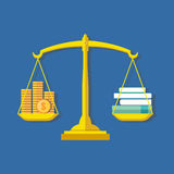 Knowledge is wealth concept. Flat design stylish. Stock Photo
