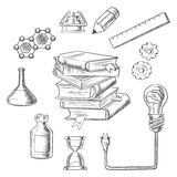 Knowledge and web education sketch icons Royalty Free Stock Photography