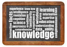 Knowledge word cloud on blackboard Royalty Free Stock Photos