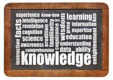 Knowledge word cloud on blackboard Royalty Free Stock Photos