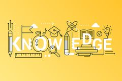 Knowledge 2019 word trendy composition concept banner. Outline stroke science, school, university and online education. Flat line icons lettering typography vector illustration
