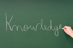 Knowledge written on a blackboard Stock Photos