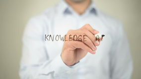 Knowledge At Your Fingertips, writing on transparent screen stock video