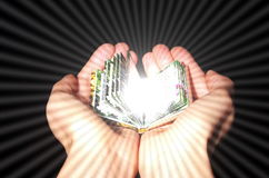 The knowledge is in Your hands. The knowledge is power. The power is in Your hands stock photography