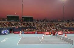 Knowles/Roddick vs Lee/Yang - China Open 2009. Mark Knowles/Andy Roddick vs Hsin-Han Lee (TPE)/Tsung-Hua Yang (TPE) at the China Open Tennis Tournament 2009 Royalty Free Stock Photography
