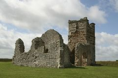 Knowlton Church. Ruined 14th century Norman church in Dorset, UK, built inside a bronze age ring barrow Stock Photography
