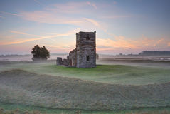 Knowlton Church. Norman church, built in the 12th century, situated at the centre of a Neolithic ritual henge earthwork.  The pairing of henge and church Stock Image