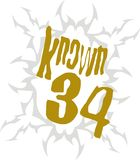 Known 34. And written into the arms of a white graphic patterned ground Stock Image