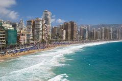 View of benidorm,Spain, in summer Royalty Free Stock Images
