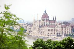 The beautiful building of Hungarian Parliament of Budapest seen from Gellert Hill. Known as the Parliament of Budapest is a notable landmark of Hungary and a royalty free stock photography