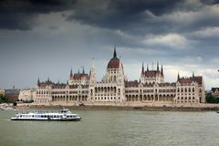 The beautiful building of Hungarian Parliament of Budapest. Known as the Parliament of Budapest is a notable landmark of Hungary and a popular tourist stock photo