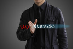 Known concept. Businessman makes the unknown into known Stock Photo