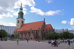 Known in German as the Marienkirche, located in central Berlin Stock Photos