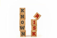 Known Risk word written on cube shape. Known Risk word written on cube shape wooden surface isolated on white background Royalty Free Stock Photos